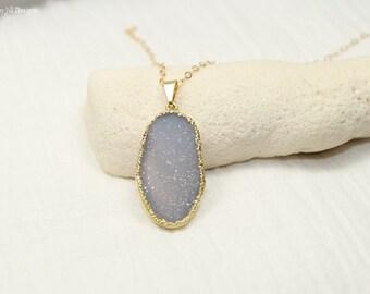 Lavender Druzy Necklace, Druzy Jewelry, Purple Drusy Pendant, Gemstone Necklace, Druzie, Drusy