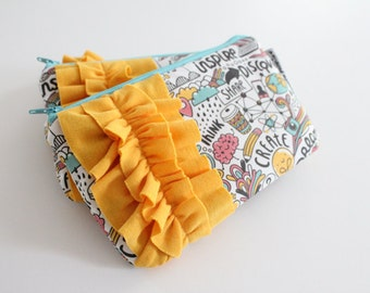 mini ruffle clutch -- create + inspire doodles