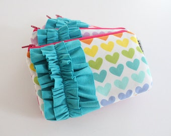 mini ruffle clutch -- rainbow hearts