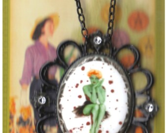 Zombie Pin-Up Necklace - Fired Porcelain - Filigree Setting - Goth Jewelry