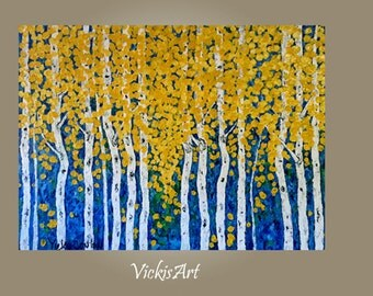 Birch Aspen Tree Extra Large Abstract Wall art Original Acrylic Painting 48 x 36 x 1 Gallery Wrapped Canvas Ready to Ship