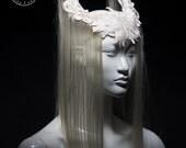Off white horn headdress / Blonde hair art wig headdress / White horn headpiece / Vampire crown / Wiccan horned headdress / Pagan wedding