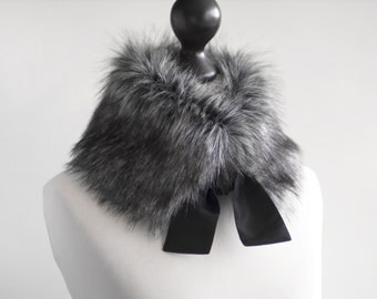 Faux fur collar in grey. Fur neck warmer. Womens fur collar. Fur scarf. Christmas gift. Grey fake fur collar with taffeta ribbon. Fur scarf.