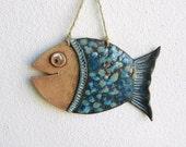 Ceramic fish wall hanging, clay fish ornament pottery wall hanging decor ornament pottery fish handmade ceramics and pottery beach