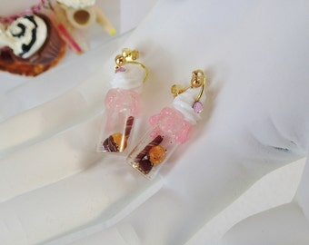 Kawaii Tiny Glass Bottle Earrings Strawberry Chocolate Wonderland Whipped Cream Pink Brown Beige and White Plastic Jewelry Potion