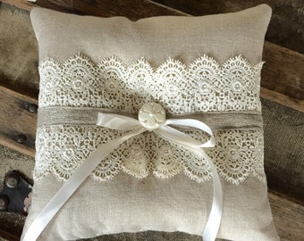 Linen and Lace Ring Pillow - Shabby, Rustic, Cottage Chic Wedding