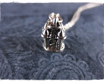Silver Castle Necklace - Sterling Silver School Castle Charm on a Delicate Sterling Silver Cable Chain or Charm Only