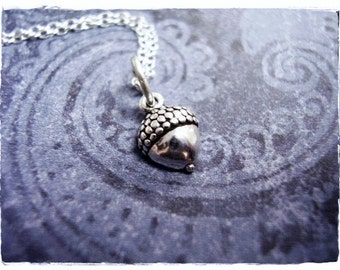 Tiny Acorn Necklace - Sterling Silver Acorn Charm on a Delicate Sterling Silver Cable Chain or Charm Only