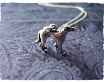 Silver Greyhound Necklace - Sterling Silver Greyhound Charm on a Delicate Sterling Silver Cable Chain or Charm Only