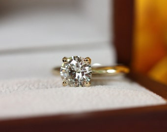 1.10ct 7mm Moissanite Solitaire, yellow gold solitaire, 4 prong simple classic engagement ring