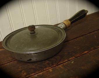 "Old Household Institute Cooking Utensils Frying Pan and Lid Aluminum 6 1/4"" diameter Cookware"
