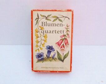 Vintage German Blumen Quartett Illustrated Flower Card Game  1950's