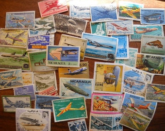 40 Worldwide Airplane Postage Stamps for paper crafting collecting collage cards scrapbooking scrapbooks stamp collecting philately 14a