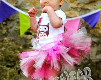 Owl Theme Birthday Shirt + Tutu Outfit  hot pinks and brown (any age)