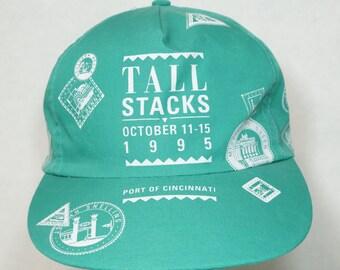 1995 Cincinnati Tall Stacks Snapback Hat Cap Screen Printed Aqua Green Sea Foam