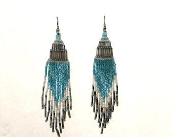 extra long boho turquoise and silver beaded earrings Southwest festival dangle chandelier pierced big Earrings 70s hippie Native American