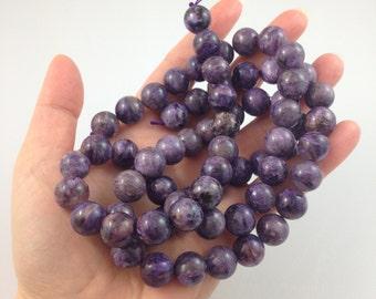 """Charoite 12mm smooth round beads - full strand - 41cm / 16"""" strand - 34 beads"""