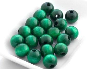 Wooden Beads - Emerald Green 12mm - 20 Beads