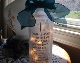 Wine Bottle lamp,christian gifts,lighted bottles,gift for her,sister,mom,mothers,lighed wine bottles,lamp,lamps,religious,Scriptures