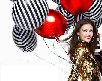 "Sale Set 6 BLACK & WHITE STRIPED Mylar Foil Balloons 18"" Glam Chic Kate Spade Inspired Bridal Shower Wedding Birthday Party Zebra Stripes"