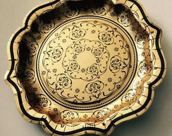 12 BLACK & GOLD PAPER Plates Vintage Style Baroque Fancy Tableware Halloween Party Bridal Shower Wedding Gatsby Hollywood Glam Plate Floral
