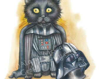 "Darth Vader Kitten - Watercolor 8x10"" print Darth Kitten unmasked!"