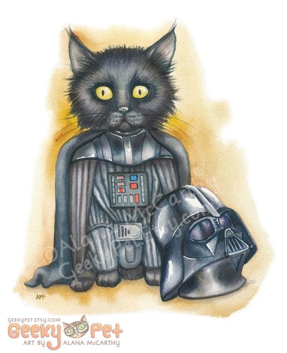 "Darth Vader Kitten - Watercolor 8x10"" print Darth Kitten unmasked!"