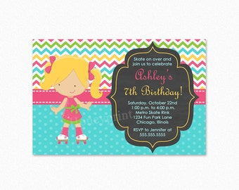 Roller Skating Birthday Party Invitation, Girl, Blond Hair, Pink, Blue, Personalized, Printable and Printed