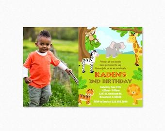 Jungle Birthday Party Invitation, Safari Birthday Party Invitation, Animal Invitation, Boy, Girl, 1st Birthday, Photo, Printable Invitation