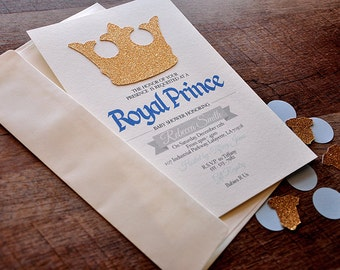 Royal Prince Baby Shower Invitations and Envelopes.  We Print, Cut, Glue and Ship to You in 2-5 Business Days.