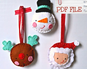 Christmas Ornament Pattern, Diy Ornaments, Felt Ornaments, Make Your Own Ornaments, Sewing Pattern, Frosty, Rudolph, Santa, Digital Pattern