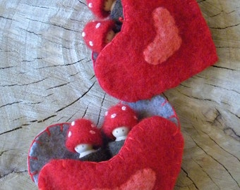 Waldorf Valentine Toadstool Tots, Heart Pouch, Toadstool peg dolls, Tree House dolls, Wee Forest Folk, red, brown, gray, eco toys