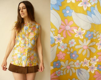 1970's Vintage Psychedelic Print Satin Button Down Hippie Top