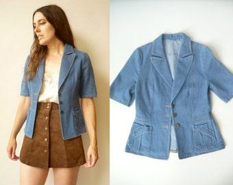 1970's Vintage Workwear Fitted Cropped Blazer Denim Jacket Size XS