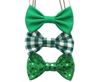 3 pcs Spring gift set - Bow Tie Necklace , Bow tie for Women and Girls, Pre Tied Necklace Bowtie, Sequin Plaid Clover Green St Patrick's Day