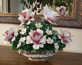 Antique Italian Capodimonte Floral Porcelain Centerpiece Large White Roses with Deep Pink Centers