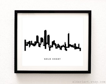 Gold Coast Skyline Print - Gold Coast Cityscape Print - Gold Coast Australia Wall Art - Gold Coast Wall Art - Modern Decor - Aldari Art