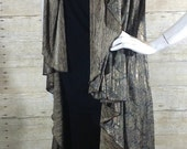 Gold and Grey printed Long Flowy Vest O/S
