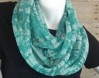 Green burnout knit Infinity Scarf