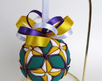 Christmas Ornament - Yellow and White 4 Pointed Stars on Green Background with Purple and Gold Trim with 12 loop bow - Made to Order
