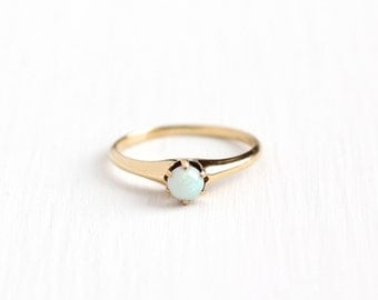 Vintage 14k Rosy Yellow Gold Opal Solitaire Ring - Size 5 1/2 1930s 1940s Art Deco October Birthstone Gemstone Jewelry