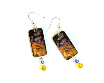 Summer Dangle Earrings Decoupaged Wood Crystal Rectangle Drop Earrings Yellow Rose on Black and Purple Floral Boho Jewelry Gifts for Her