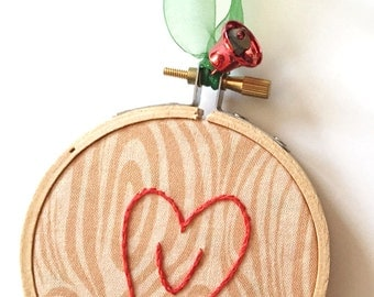 Girlfriend Gift. Valentines day. First Christmas Together. Heart Embroidery Hoop couples Ornament. Carved Tree with Heart.