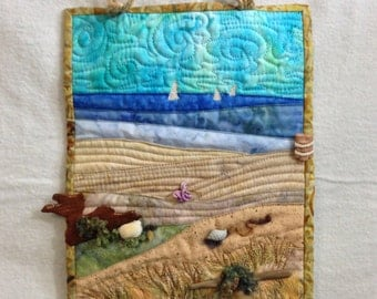 easy beach vacation art quilt pattern