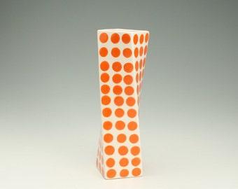 Ceramic Flower Vase, Tall Modern Pottery Vase, Polka Dot Twisted Vase, Orange Polka Dots, Hand Painted White Flower Vase