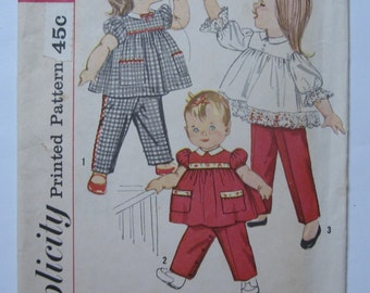 Toddler Girls Pants and Top size 2 Breast 21 Waist 20 Cute Vintage 1960's Simplicity Pattern 3725 Cut/Complete