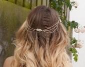 Gold Chain Headpiece - Bohemian Bridal Hair chain - Gold Tone Wedding hair Accessory - Draped Hair Chain  - Bridal headpiece
