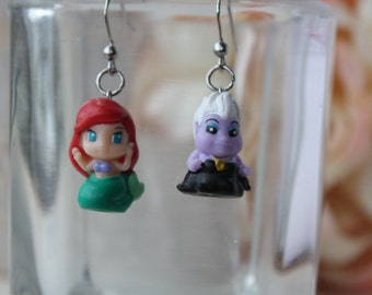 Ariel and Ursula Stainless steel earrings