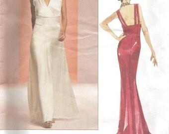 Evening Dress Backless Plunging Neckline Mock Wrap Shoulder Straps OOP Vogue 2707 Uncut FF Sizes 6-10 Bust 30.5 - 32.5 Womens Sewing Pattern