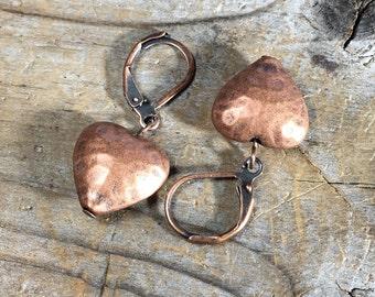 SALE antique hammered Copper heart earrings - leverback - simple short minimalist jewelry love romance women handmade rustic